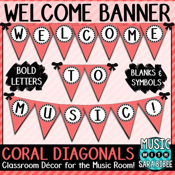 Welcome to Music! Coral Diagonals Pennant Banner
