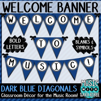Welcome to Music! Dark Blue Diagonals Pennant Banner