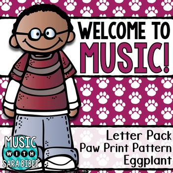 Welcome to Music! Display Letters- Paw Print Pattern- Eggplant