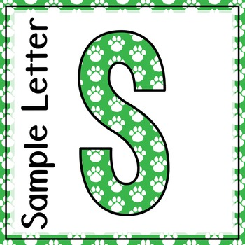 Welcome to Music! Display Letters- Paw Print Pattern- Light Green