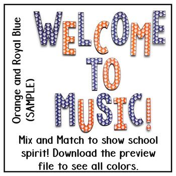 Welcome to Music! Display Letters- Paw Print Pattern- Light Grey