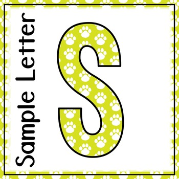 Welcome to Music! Display Letters- Paw Print Pattern- Light Lime