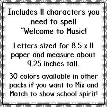 Welcome to Music! Display Letters- Paw Print Pattern- Medium Grey