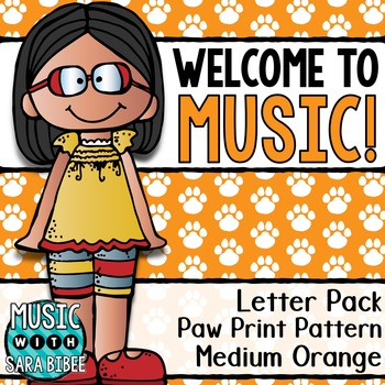 Welcome to Music! Display Letters- Paw Print Pattern- Medium Orange