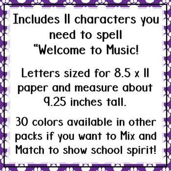 Welcome to Music! Display Letters- Paw Print Pattern- Royal Purple