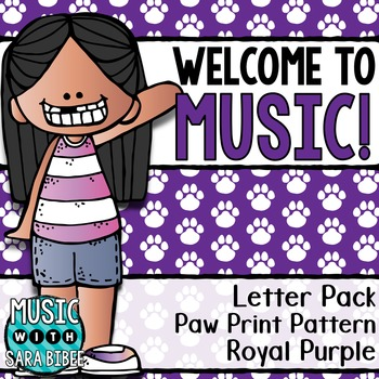 Welcome to Music! Display Letters- Paw Print Pattern- Roya