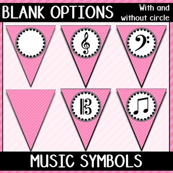 Welcome to Music! Light Pink Diagonals Pennant Banner