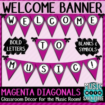 Welcome to Music! Magenta Diagonals Pennant Banner
