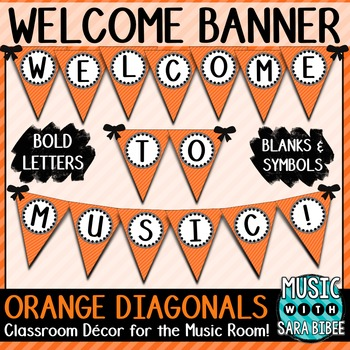 Welcome To Music Orange Diagonals Pennant Banner By Music With Sara