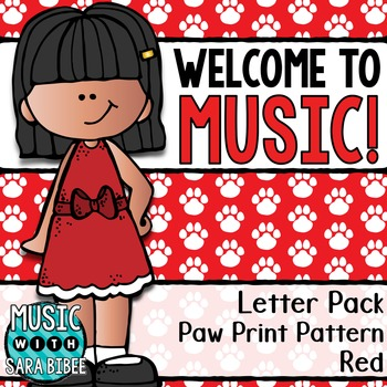 Welcome to Music! Display Letters- Paw Print Pattern- Red