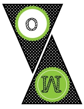 """""""Welcome to Music"""" Pennant Banner ~ Black and Green Polka Dots"""
