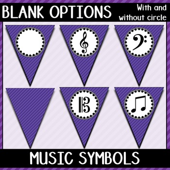 Welcome to Music! Violet Diagonals Pennant Banner