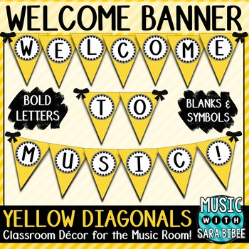 Welcome to Music! Yellow Diagonals Pennant Banner