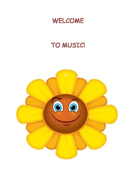 """""""Welcome to Music"""" sign to hang on the entrance to your room.  (Poster)"""