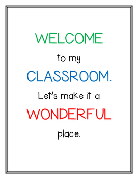 Welcome to My Classroom - poster