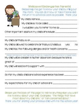 Welcome to Open House, Kindergarten Parents!