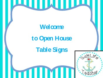Welcome to Open House Table Signs (Blue Stripe)