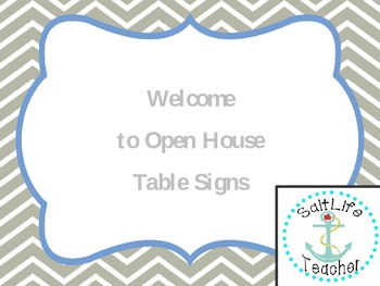 Welcome to Open House Table Signs (Grey Chevron)