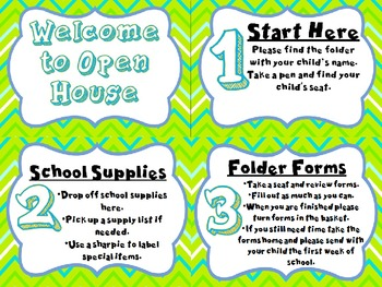 Welcome to Open House Table Signs (Pink Stripe)