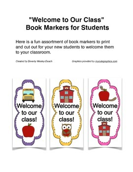 """""""Welcome to Our Class"""" Book Markers"""
