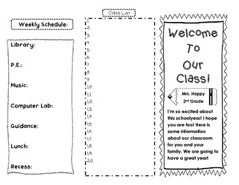 Welcome to Our Class Trifold