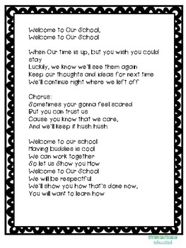 "Welcome to Our School- SEL song to the tune of Flo- Riders ""Welcome to My House"""