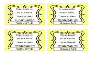 Welcome to Pre-K Candy Bag Poem