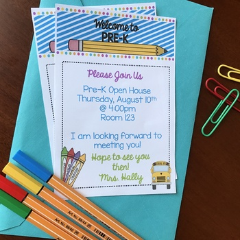 Welcome to PreK Invitation - Newsletter - Announcement - EDITABLE - Pre-K