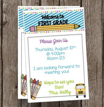 Welcome to First Grade Invitation - Newsletter - Announcement - EDITABLE