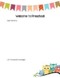 Welcome to PreK Letter to Parents