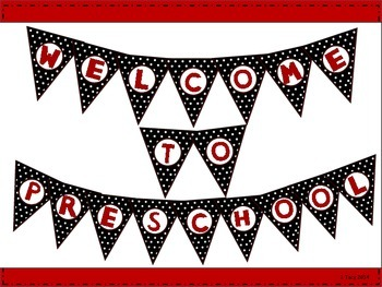 Welcome to Preschool Black & White Polka Dot Bunting