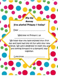 Welcome to Primary 1 Letter