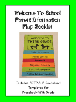 Welcome to School- Editable Information Flap Booklet (Dachshund Theme)