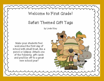 Welcome to School -Jungle Themed Gift Tags for First Grade