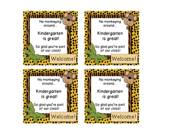 Welcome to School -Jungle Themed Gift Tags for Kindergarten