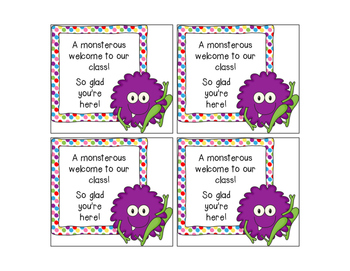 Welcome to School - Monster Theme Cards / Gift Tags