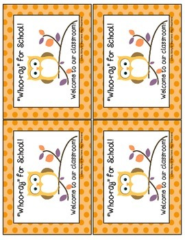 Welcome to School - Owl Style Cards / Gift Cards