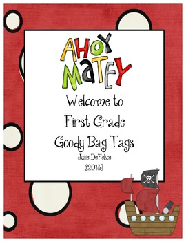Back to School Pirate Themed Goody Bag Tags