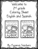 Welcome to Second Grade Coloring Sheet - English and Spanish