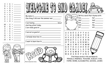 Welcome to Second Grade activity mat