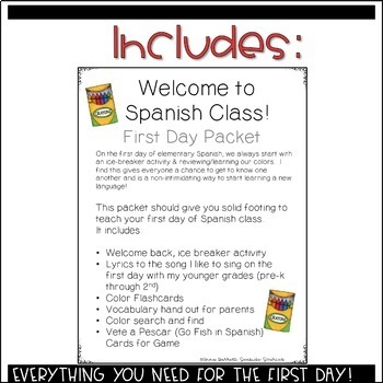 Welcome to Spanish Class First Day Packet for Elementary