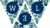 Welcome to Speech & Language Banner- Mint & Navy Blue