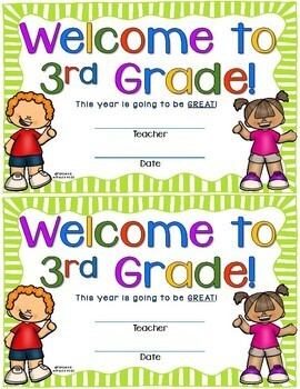 Welcome to Third Grade Certificate - Back to School Keepsake