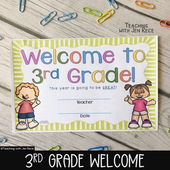 Welcome to Third Grade Certificate - Back to School Keepsake