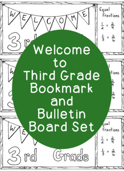 Welcome to Third Grade Printable Bookmark Back to School PDF Coloring Page