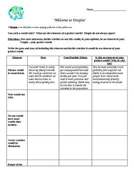 Utopia Worksheets & Teaching Resources | Teachers Pay Teachers