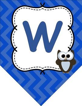 Welcome to _ Grade Owl & Chevron Themed Back to School Banner - Classroom Decor
