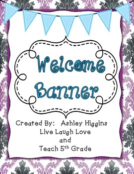 Welcome to grade level bunting banner (Purple)
