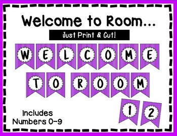Welcome to our Room Banner - Bulletin Board - Purple