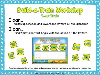 Letter Sound Match with Transportation Train Theme